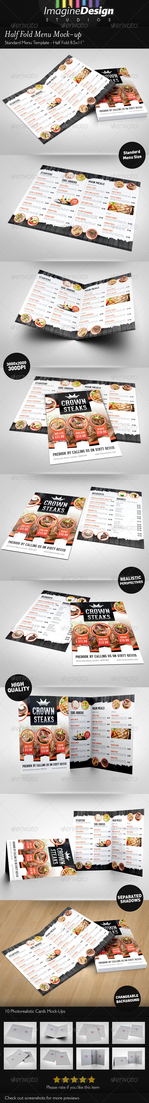 Half Fold Menu Mock-up - Brochures Print