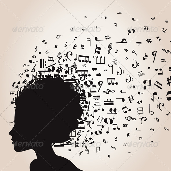 Girl's Head and Musical Notes - People Characters