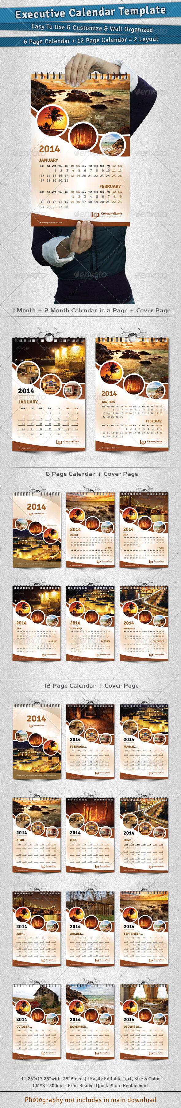 Executive Calendar Template 2014 - Calendars Stationery
