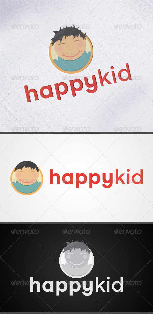 Happy Kid Child Mascot Logo - Humans Logo Templates