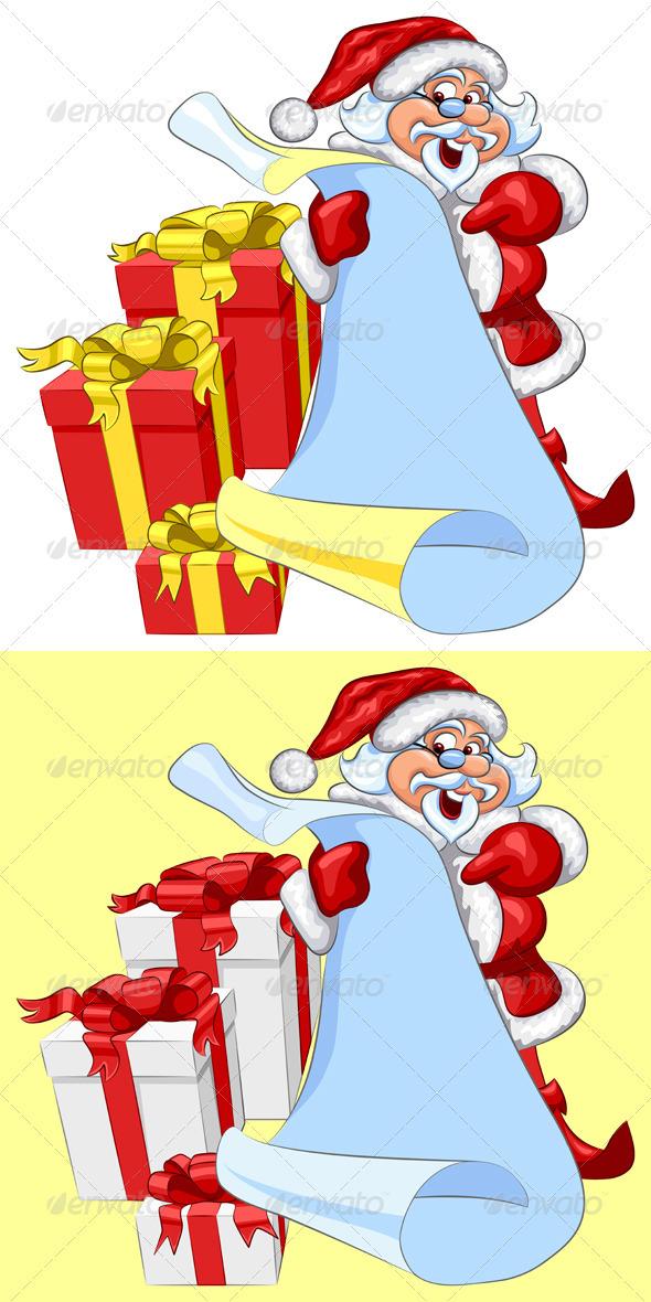 Vector Santa Claus with a scroll and Christmas - Seasons/Holidays Conceptual