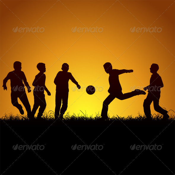 Five Boys And Football - People Characters