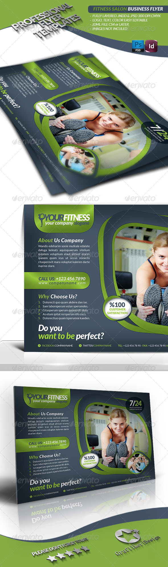 Fitness Salon Business Flyer - Flyers Print Templates