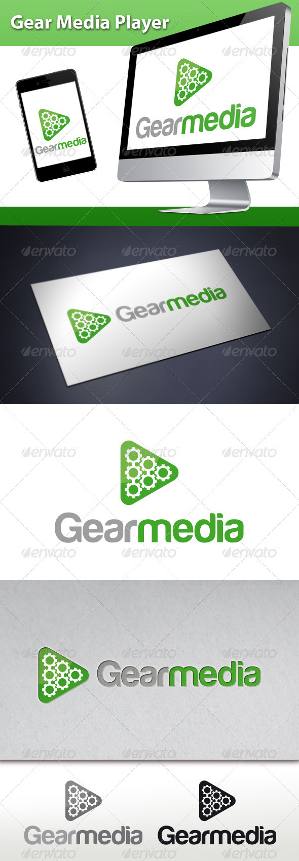 Gear Media Player Logo - Abstract Logo Templates
