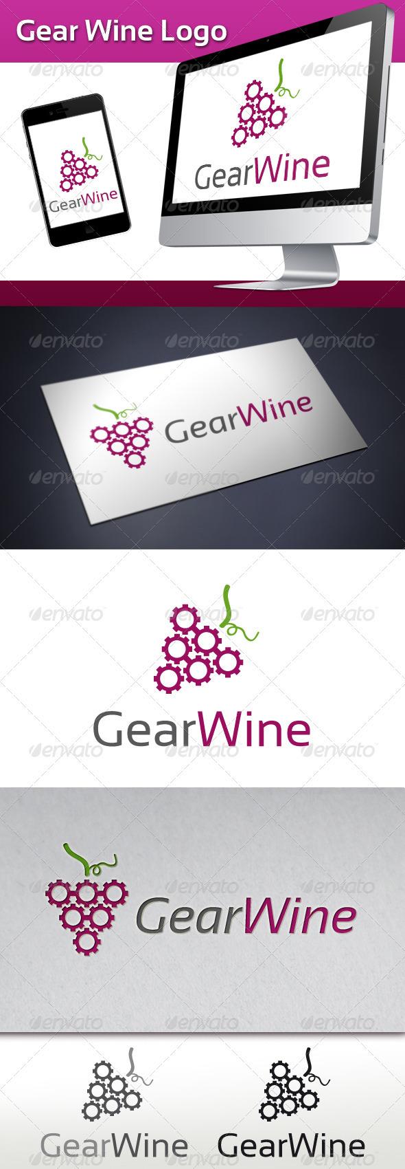 Gear Wine Logo - Objects Logo Templates