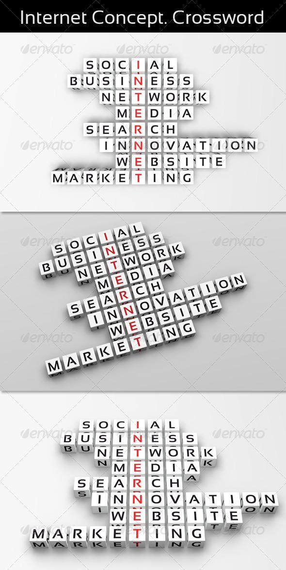 Internet Concept. Crossword - Text 3D Renders