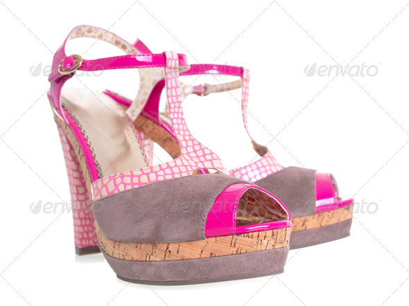 Funny pink high heels shoes 3d effect on white background - Stock Photo - Images