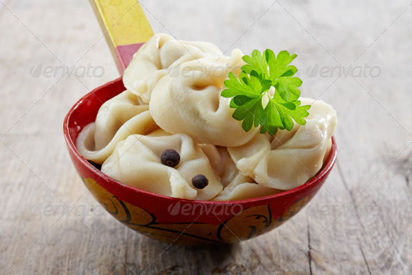 dumplings russian pelmeni - Stock Photo - Images