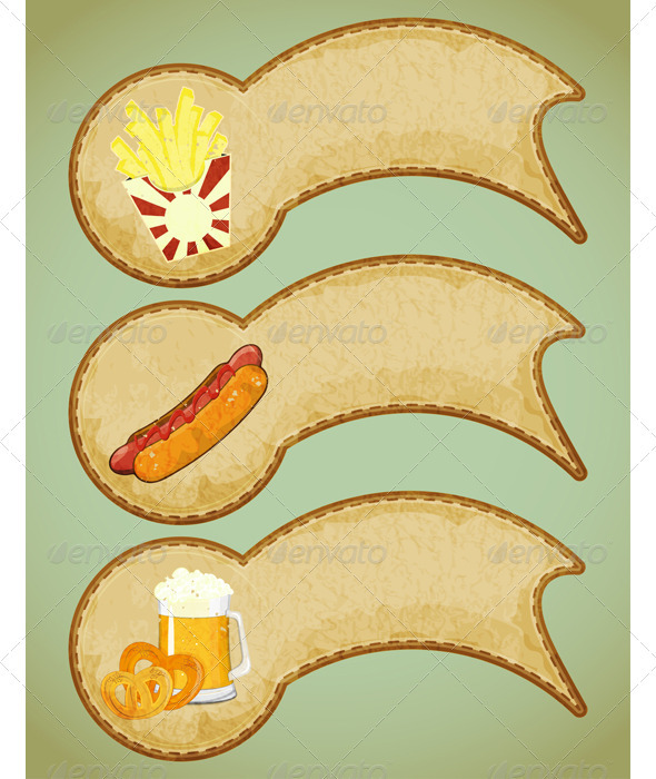 Fast Food Labels in Retro Style - Food Objects