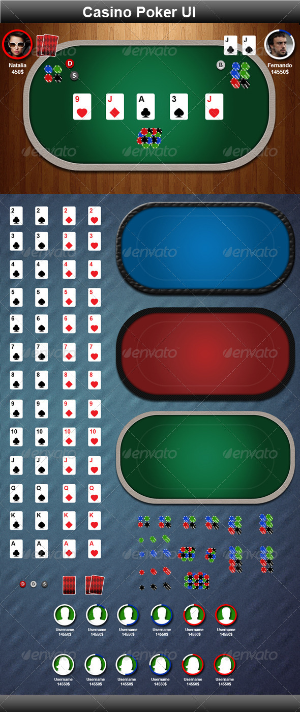 Casino Poker Game Elements - Game Kits Game Assets