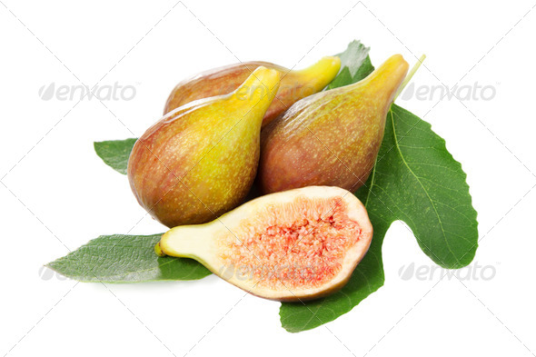 Figs with green leaf - Stock Photo - Images