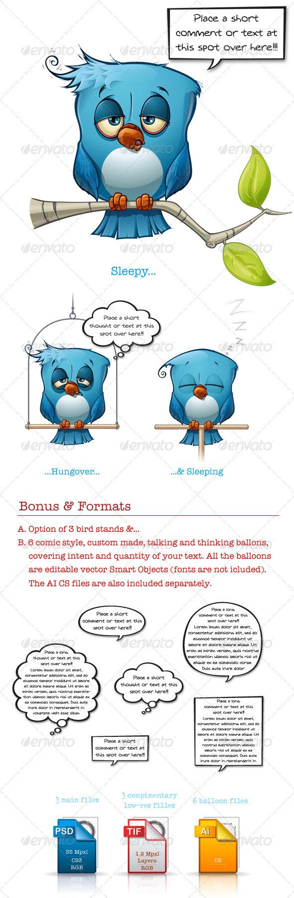 Blue Bird Sleepy-Hangover-Sleeping - Animals Illustrations