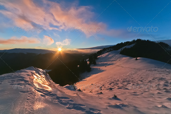winter sunset - Stock Photo - Images