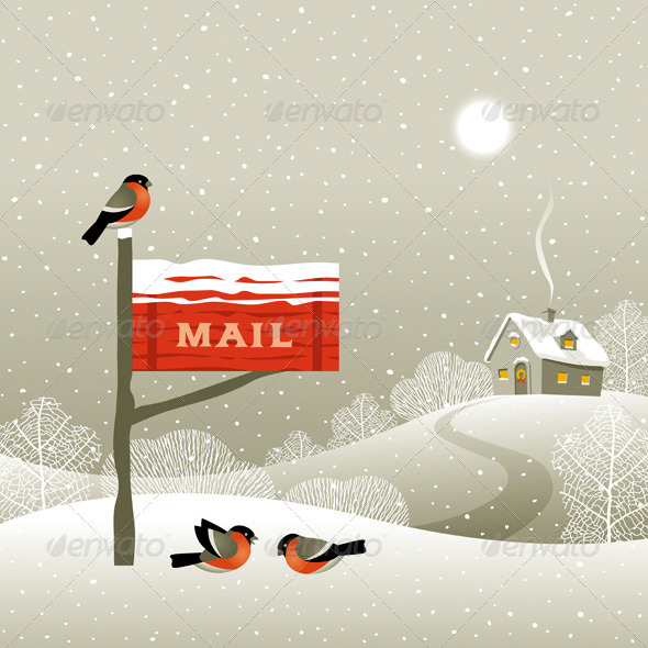 Mailbox On The Forest Edge - Christmas Seasons/Holidays