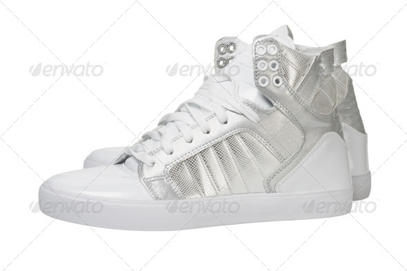 Trendy White Silver Shoes - Stock Photo - Images