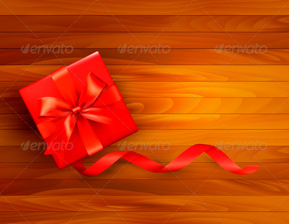 Holiday Background with Gift Box and Red Bow - Christmas Seasons/Holidays