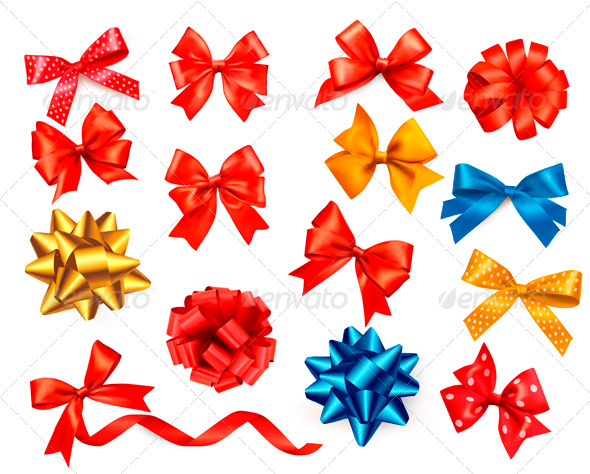 Big Set of Colour Gift Bows with Ribbons - Decorative Symbols Decorative