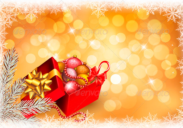 Christmas Background with Open Gift Box - Christmas Seasons/Holidays