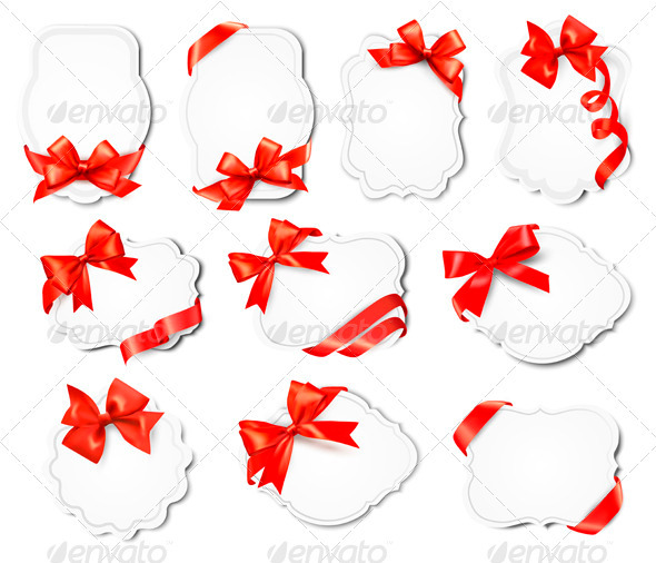 Set of Beautiful Cards with Red Gift Bows  - Borders Decorative