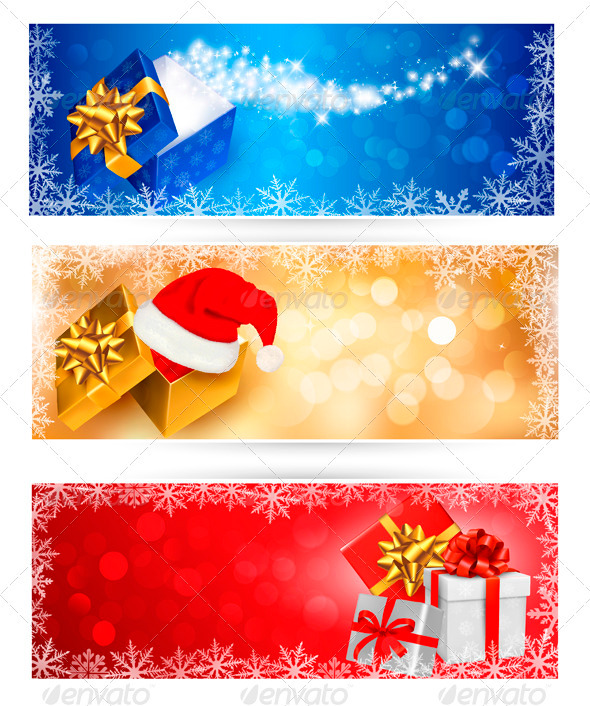 Three Christmas Banners with Gift Boxes - Christmas Seasons/Holidays