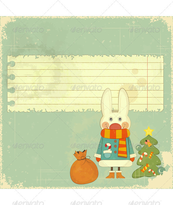 Christmas Card with White Hare - Christmas Seasons/Holidays