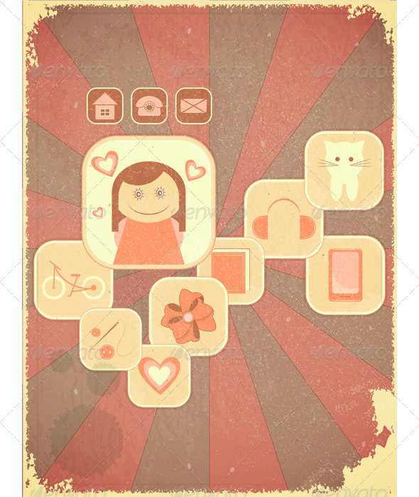 Retro Placard - Girls Hobby - Conceptual Vectors