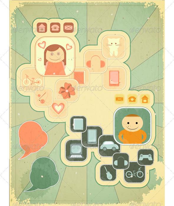 Retro Placard - Hobbies - Conceptual Vectors