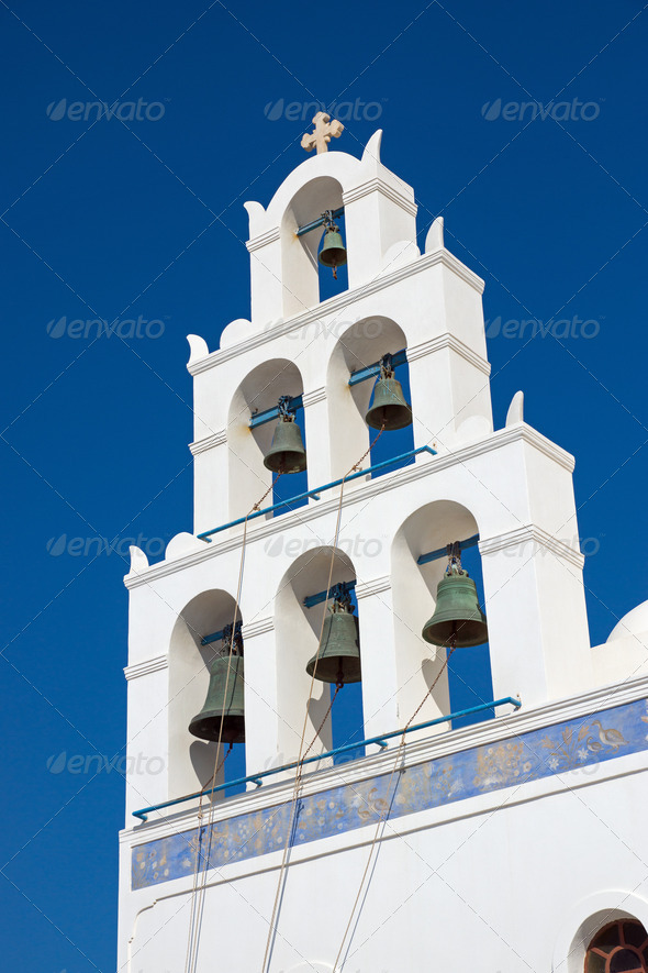 Belltower of a church in Oia  - Stock Photo - Images