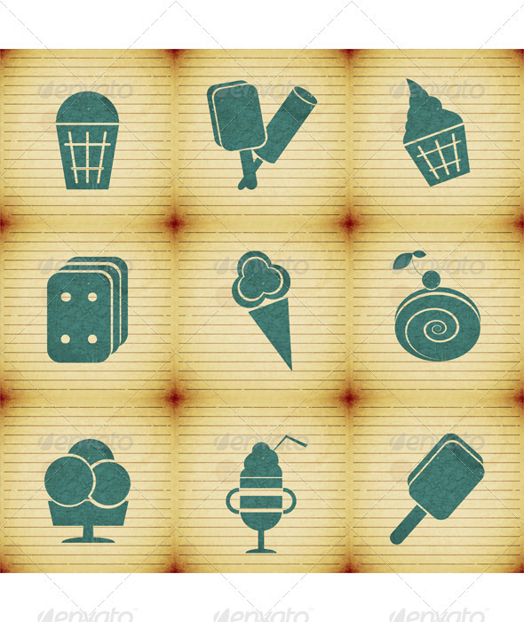 Ice Cream - Labels Set - Food Objects