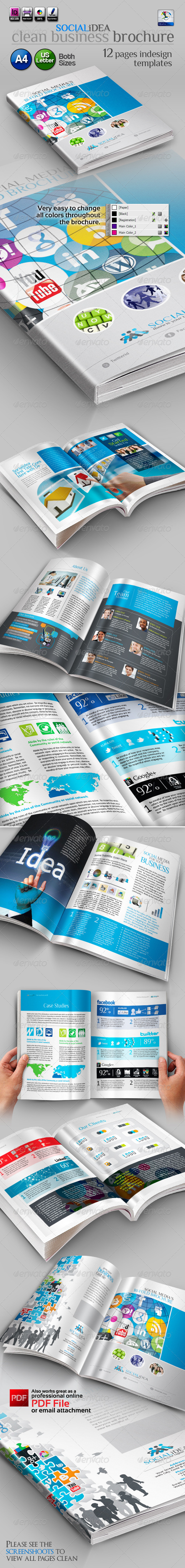 Socialidea: Social Media Clean Bi-fold Brochure - Corporate Brochures