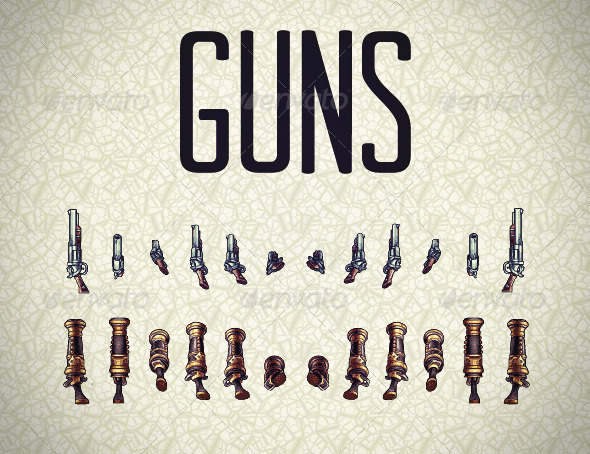 Pixel Guns Sprites - Objects Illustrations