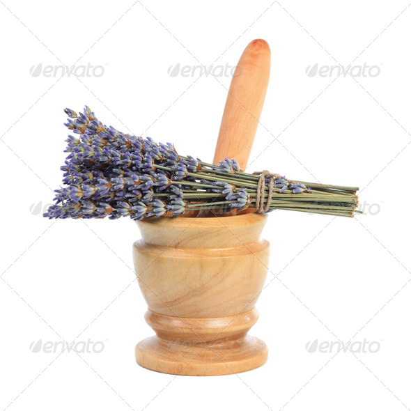 Mortar and a bouquet of lavender - Stock Photo - Images