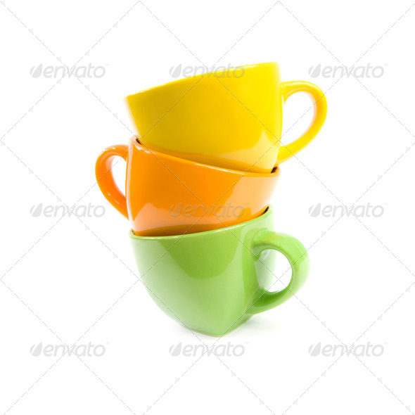 Colored cups. - Stock Photo - Images