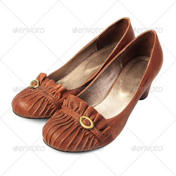 Brown women's shoes - Stock Photo - Images