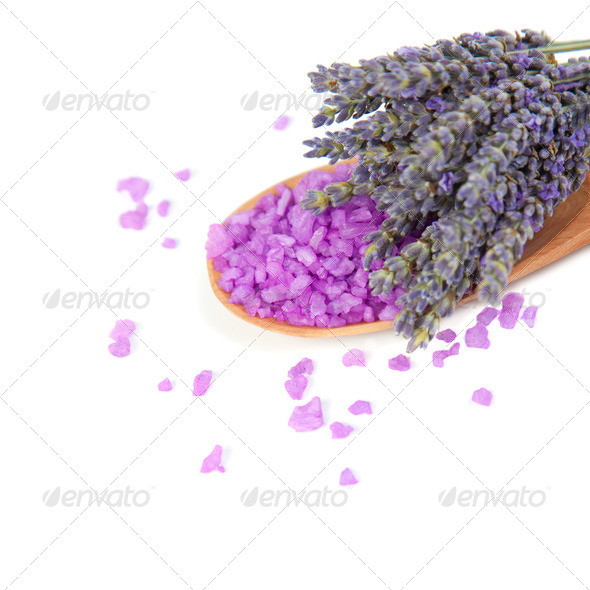 Flowers lavender and sea salt for bath. - Stock Photo - Images