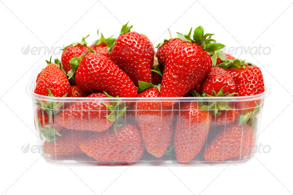 Strawberries in plastic packaging - Stock Photo - Images