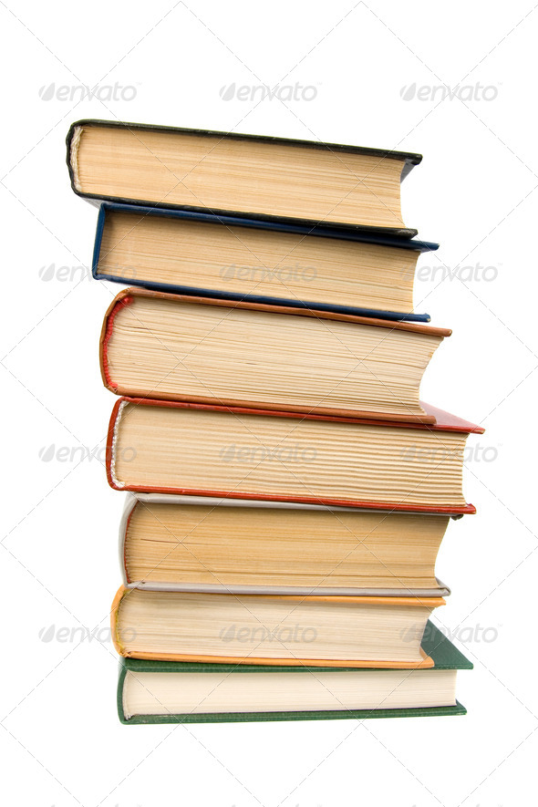 Stack of books. Isolated on white background. - Stock Photo - Images