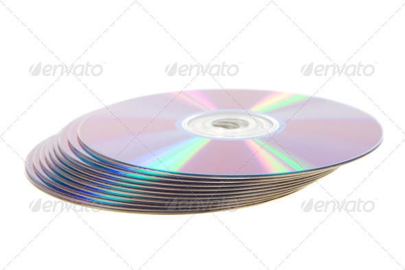 Play of light on the CD disks.  - Stock Photo - Images