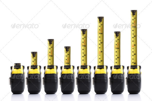 Tape measure bar chart - Stock Photo - Images