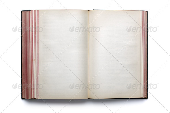Blank open hardback book - Stock Photo - Images