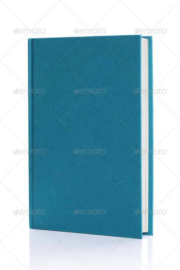 Isolated blank blue hardback book - Stock Photo - Images