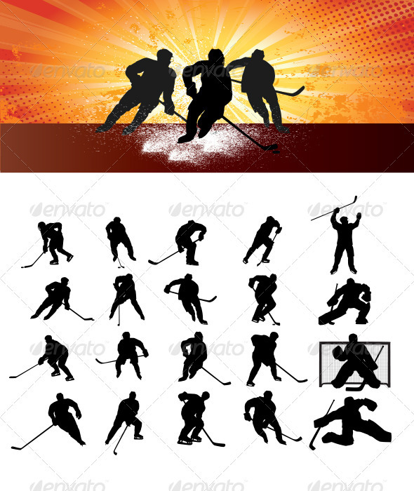 Ice Hockey Silhouettes - Sports/Activity Conceptual