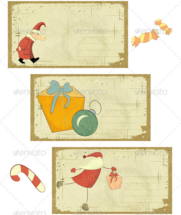 Set of Retro Christmas Cards on White - Christmas Seasons/Holidays