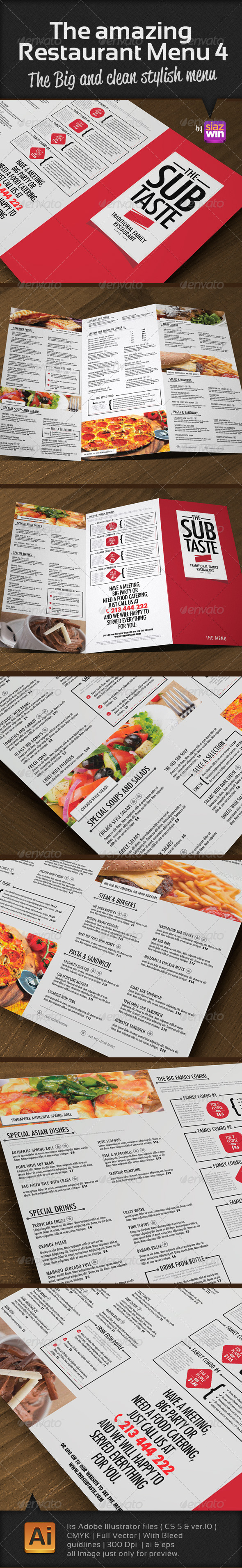 The Restaurant Menu 4 - Food Menus Print Templates