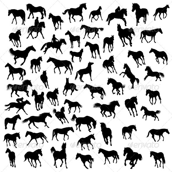 Horse Silhouette Set - Animals Characters