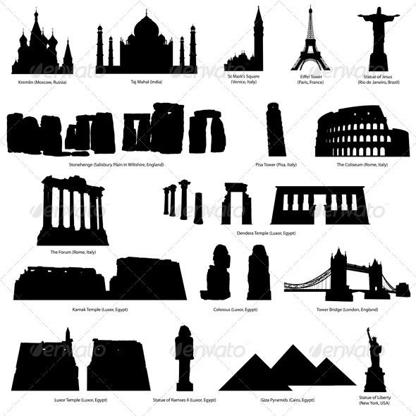 Landmark Silhouette Set - Buildings Objects