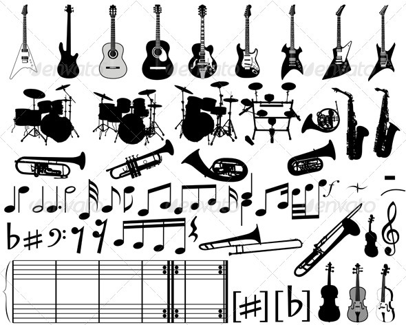Musical Elements and Instrument Set - Man-made Objects Objects