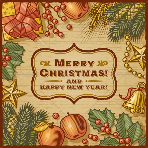 Christmas Retro Card - Christmas Seasons/Holidays