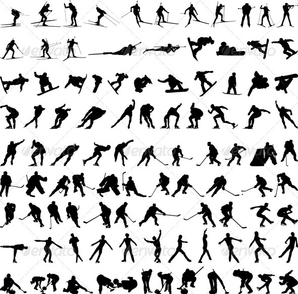 Set of Winter Sport Silhouettes - Sports/Activity Conceptual