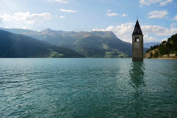 Lake Resia - Stock Photo - Images